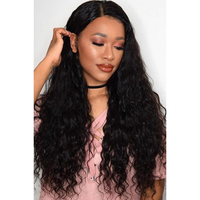 "Messy Natural Wavy 6"" Deep Middle Part 360° Lace Wigs,Indian Remy Hair,150% Thick Density,Pre-Plucked Hairline,Removable Elastic Bands"