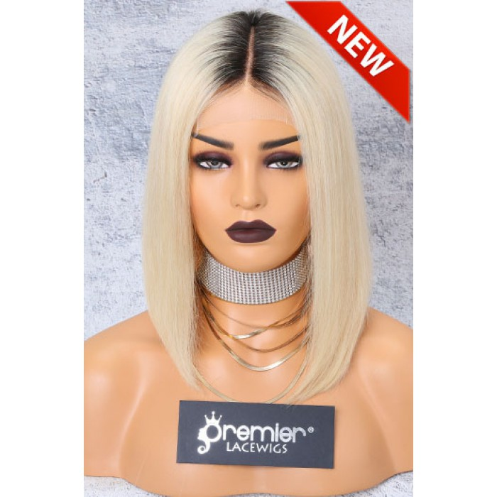 "Blonde Hair Dark Roots Bob Cut,4.5"" Lace Front Wig,Indian Remy Hair Silky Straight 12"" 150% Density"