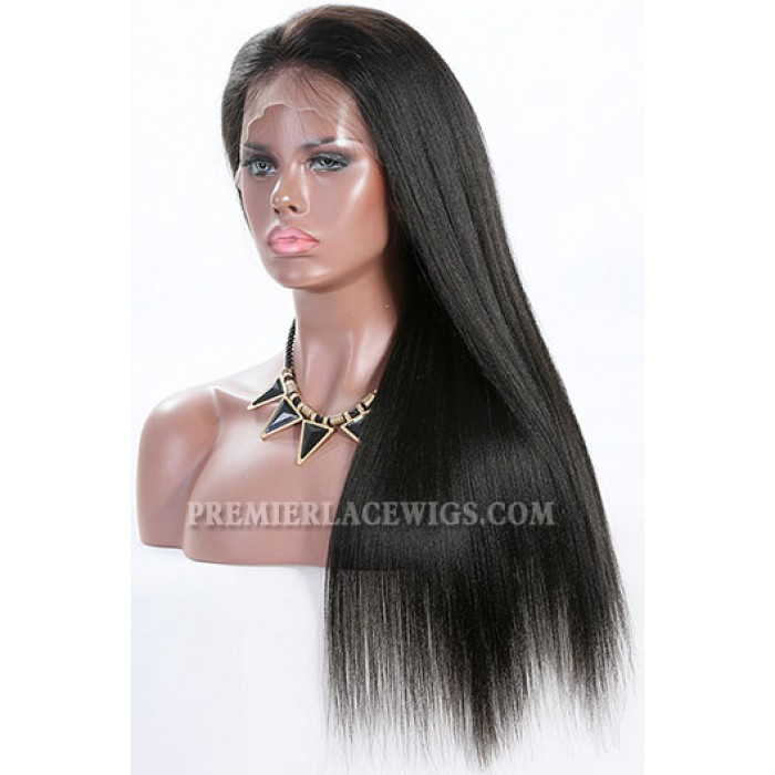 """Yaki Straight 6"""" Deep Part 360° Lace Wigs,Indian Remy Hair,150% Thick Density,Pre-Plucked Hairline,Removable Elastic Bands"""