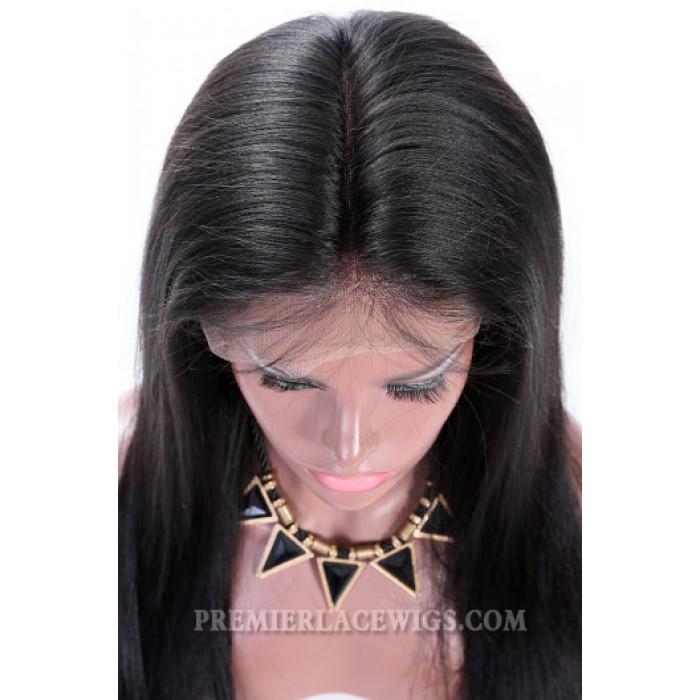 "Natural Straight 6"" Deep Part 360° Lace Wigs,Indian Remy Hair,150% Thick Density,Pre-Plucked Hairline,Removable Elastic Bands"