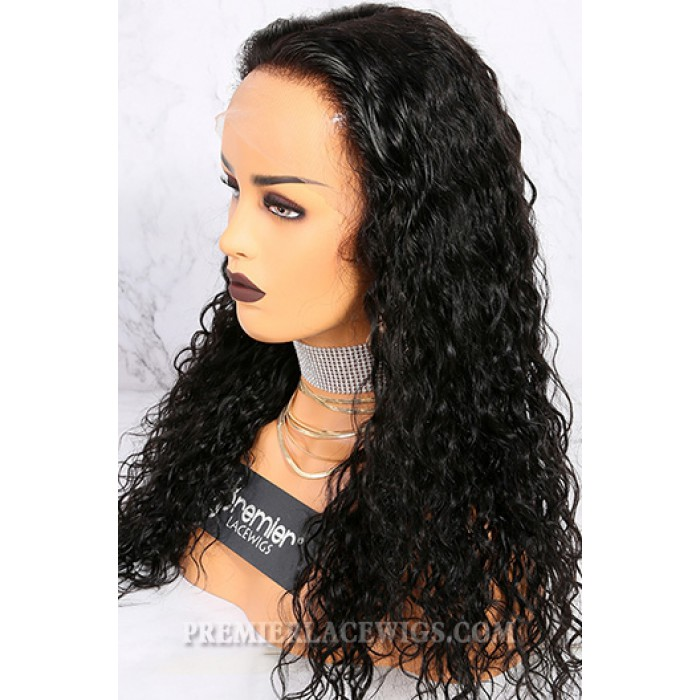 "1b,22 inches,150% density,Messy Natural Wavy 6"" Deep Middle Part 360° Lace Wigs"
