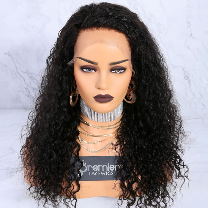 "22 inches natural color Bomb Deep Curl 6"" Deep Middle Part 360° Lace Wigs"