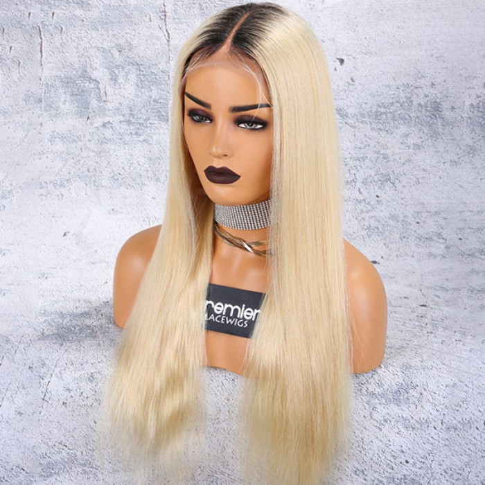 "Dark Roots Blonde Hair 6"" Middle Part 360 Lace Wigs"