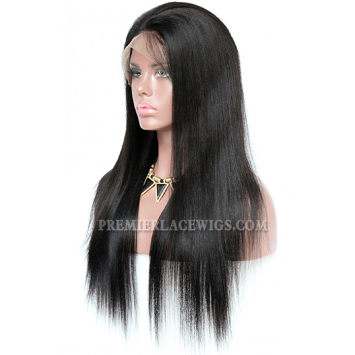 Yaki Straight Brazilian Virgin Hair Improved 360°Anatomic Lace Wigs,150% Thick Density ,Pre-Plucked Hairline