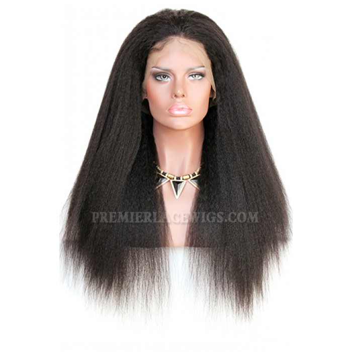Kinky Straight Indian Remy Hair Improved 360°Anatomic Lace Wigs,150% Thick Density ,Pre-Plucked Hairline