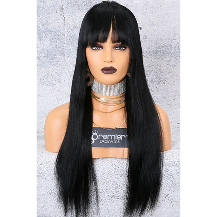 Yaki Straight Hair With Full Bangs 360 Lace Wigs,Indian Remy Hair