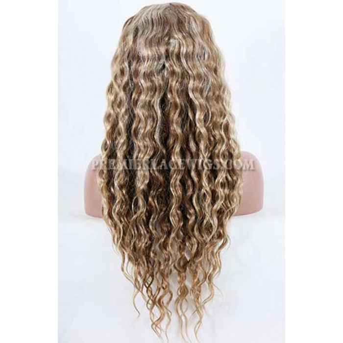 Blonde Highlights Curly Hair Chinese Virgin Hair Full Lace Wigs