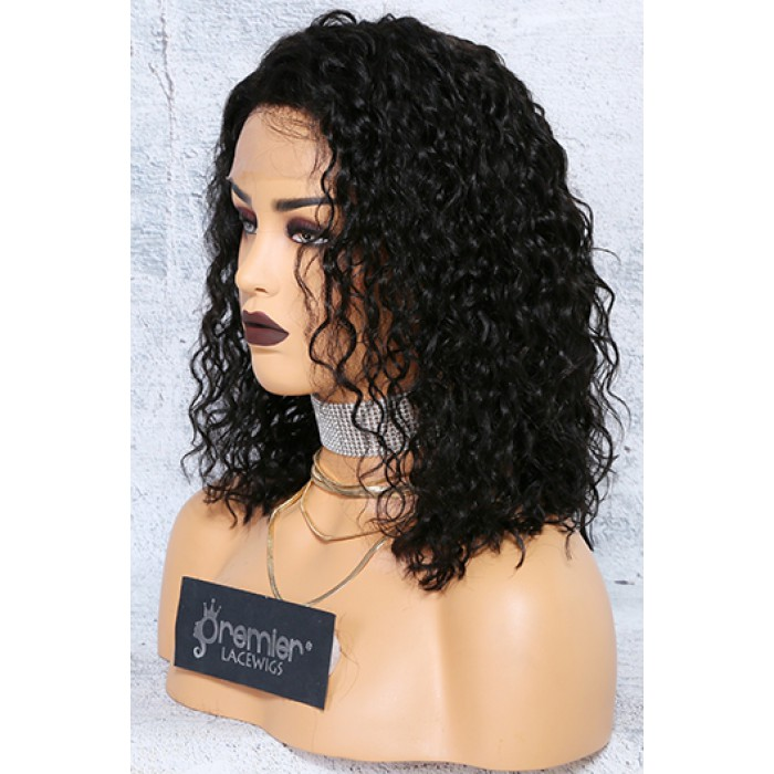"Deep Curl Bob 4.5"" Lace Front Wig,Indian Remy Hair,Natural Color,12inches,150% Thick Density"