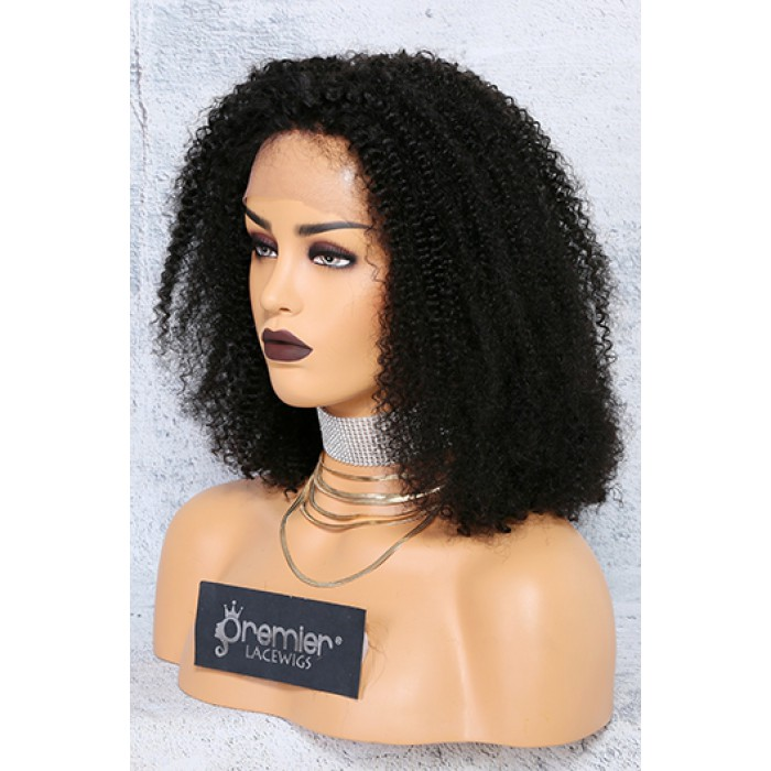 Kinky Coily Lace Front Wig Textured Hair Bob,Indian Remy Hair,14inches 150% Density