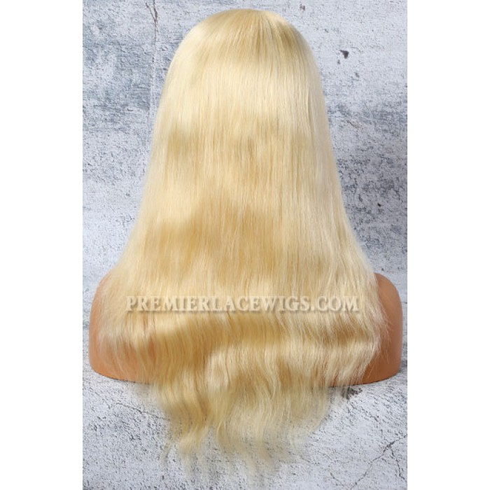 "#613 Blonde 4.5"" Lace Front Wigs Natural Straight Indian Remy Hair"