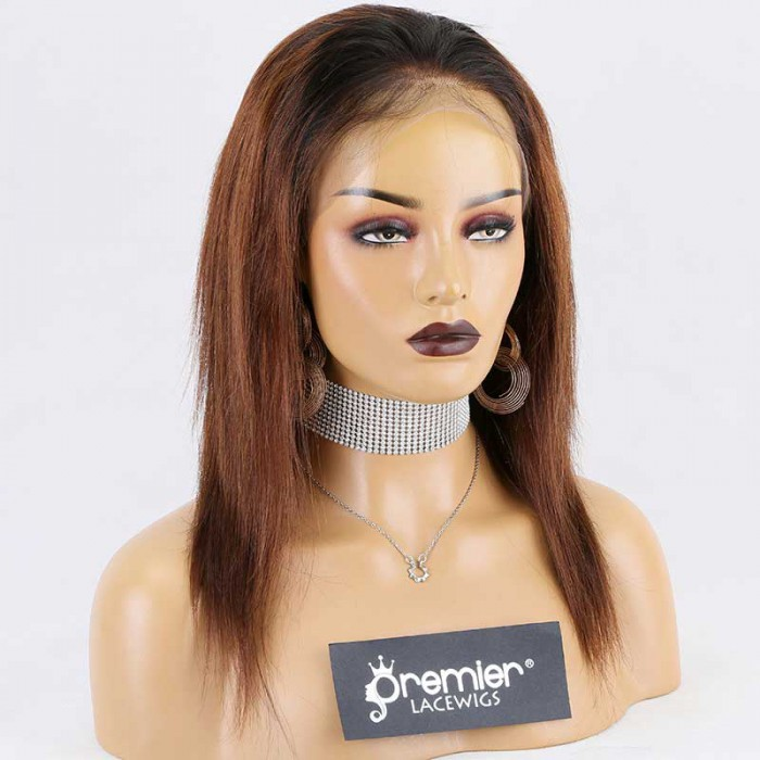 Super Deal Full Lace Wig,Brazilian Virgin Hair Ombre Brown,12 inches Silky Straight