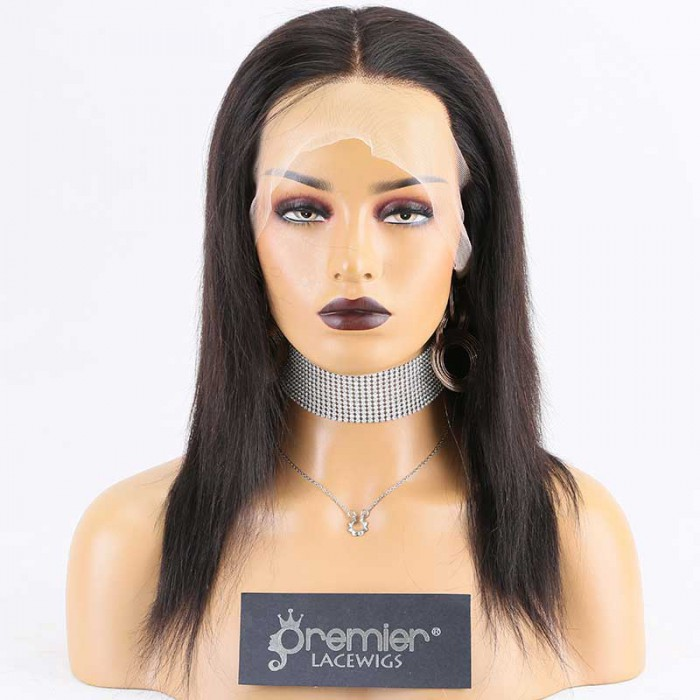 Super Deal Full Lace Wig,Indian Remy Hair Natural Color,12 inches Silky Straight