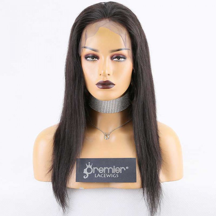 """Super Deal 4.5"""" Lace 360 Wig,Indian Remy Hair Natural Color,16 inches Silky Straight"""