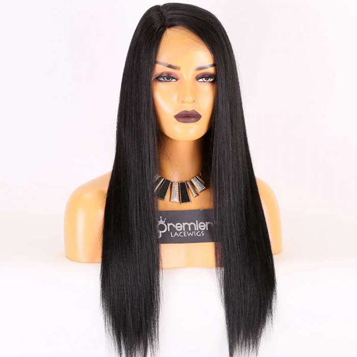 Super Deal Silk Part Lace Wig,Indian Remy Hair 1# Color,20 inches Yaki Straight 150% Thick Density, Medium Size,Right Part
