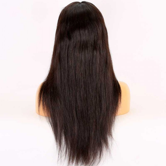 Super Deal 20 inches Lace Front Wig Silky Straight Brazilian Virgin Hair,Average Size,150% Normal Density