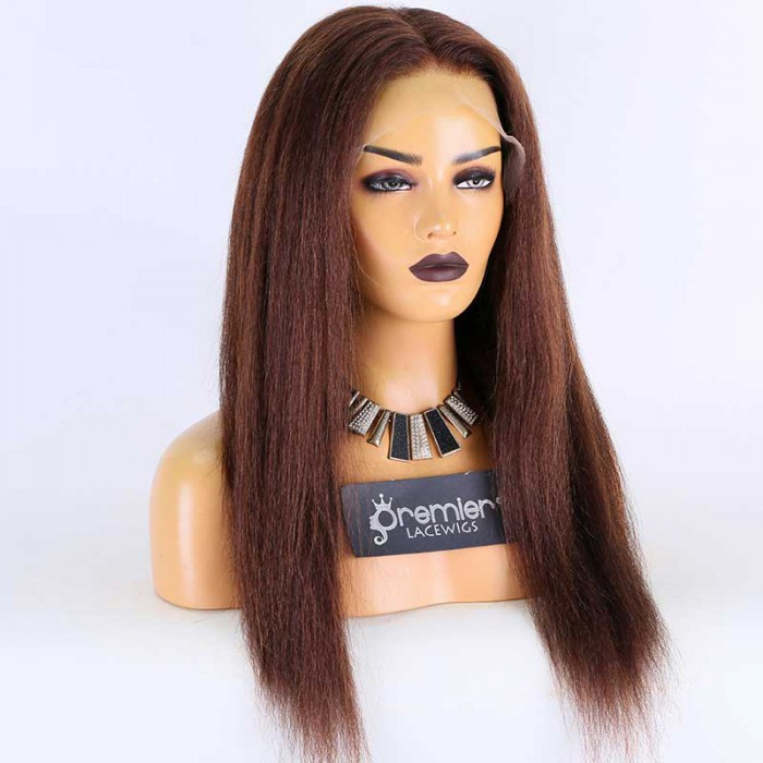Super Deal 20 inches,4# Color,Lace Front Wig Kinky Straight Indian Remy Hair,Average Size,150%Density.Advanced Bleached Knots