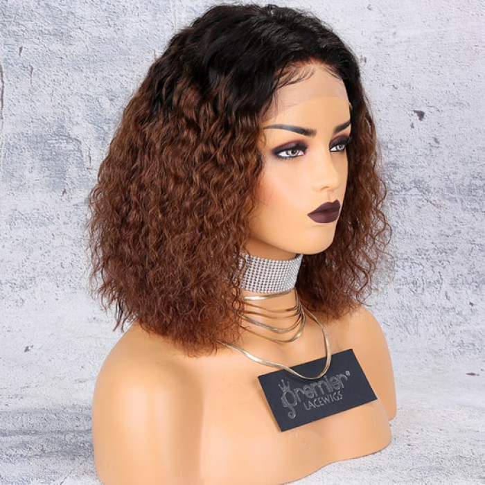 Brown Ombre Bob Textured Natural Curls Lace Front Wig