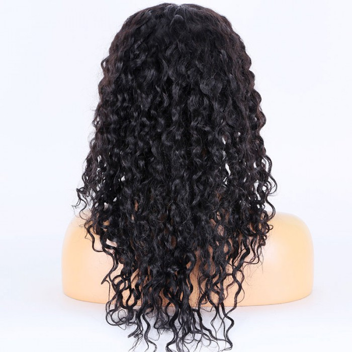 Super Deal 18 inches Lace Front Wig Curly Indian Remy Hair, 1B#, Average Size, 130% Normal Density,Medium Brown Lace