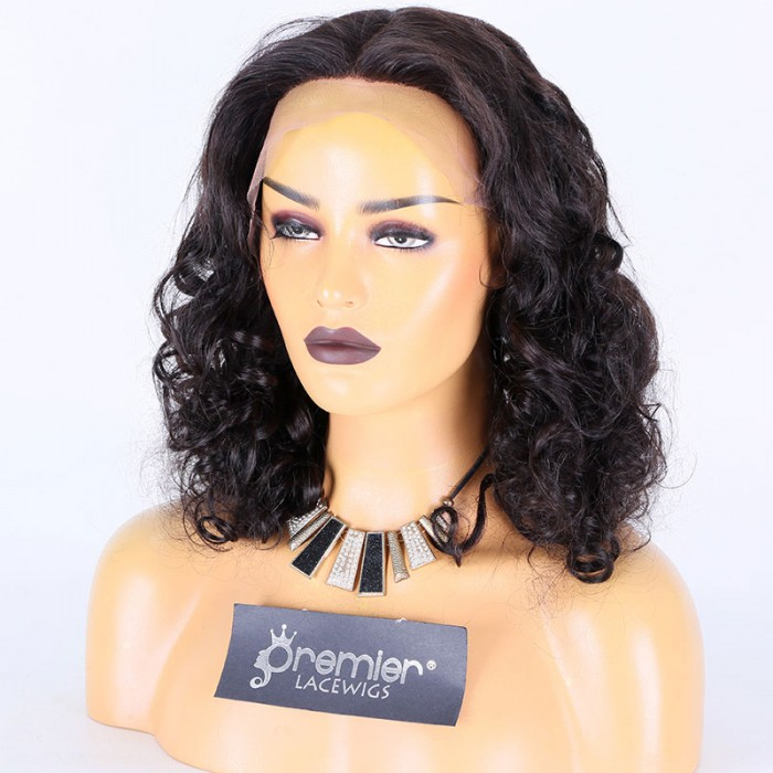Super Deal 18 inches Lace Front Wig Bottom Wavy Indian Remy Hair, 1B#,Average Size,130% Normal Density,Medium Brown Lace