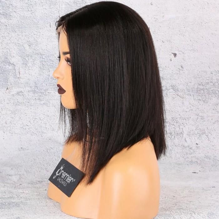 360 Lace Wig Middle Part Asymmetrical Bob