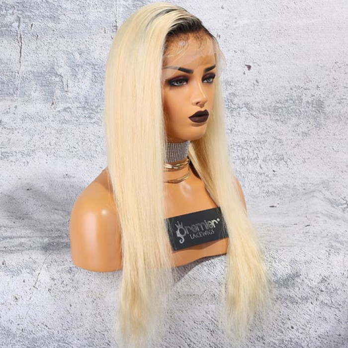 """Dark Roots Blonde Hair 4.5"""" Lace Front Wig,"""