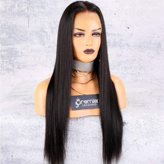 Yaki straight 360 lace wig, 22 inches, natural color,180% density