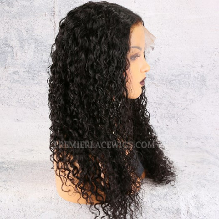 Tight Curls Middle Part 360 Lace Wig,22 inches, natural color,180% density