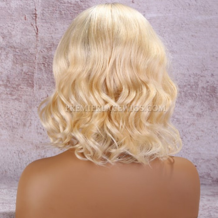 Full Lace Wig Dark Roots Blonde Hair Wavy Bob