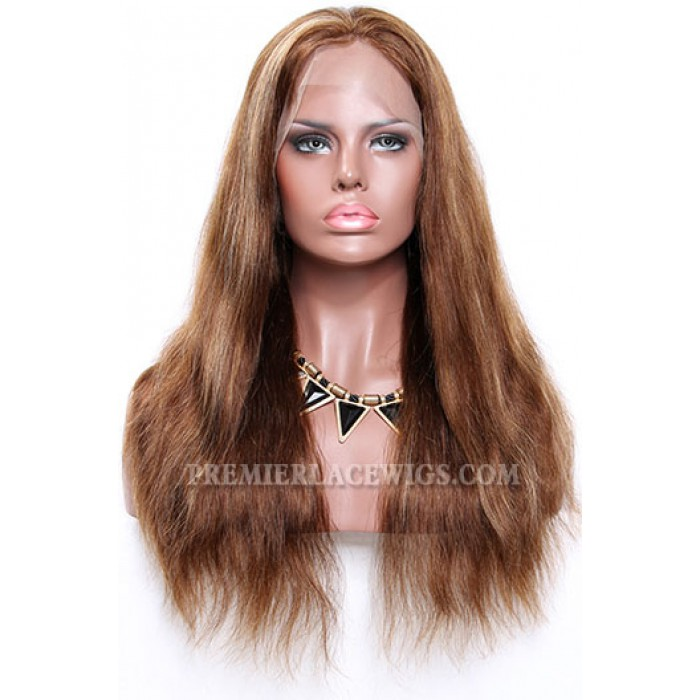 4/27# Highlights Color Lace Front Wigs Indian Remy Human Hair Natural Straight
