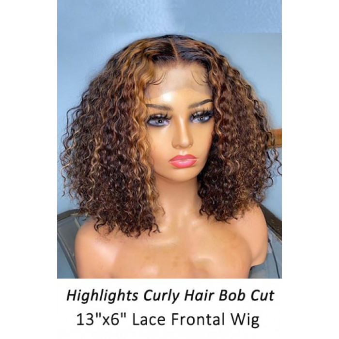 Highlights Hair Curly Bob