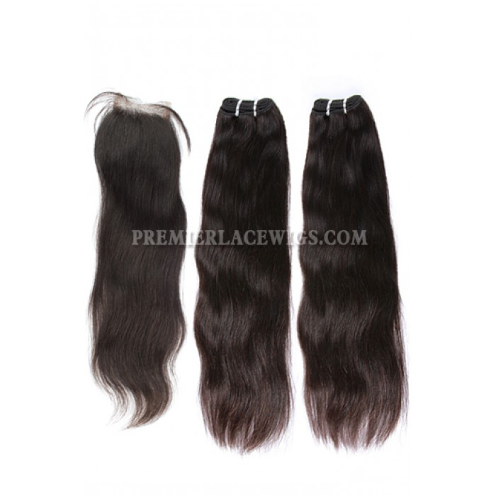 A Silk Base Closure with 2 Bundles Deal Brazilian Virgin Hair Weave Straight