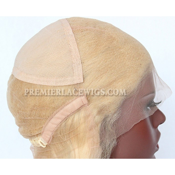 Full lace wig cap construction with adjustable straps