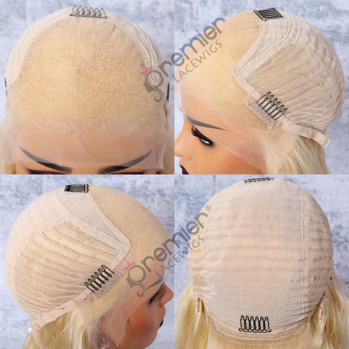 "613# Blonde Hair Bob Cut 4.5"" Lace Front Wig,Indian Remy Hair Silky Straight 14"""