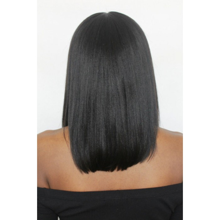 "Italian Yaki Thick Hair Bob Black Color,4.5"" Deep Middle Part Pre-Plucked Lace Front Wig"
