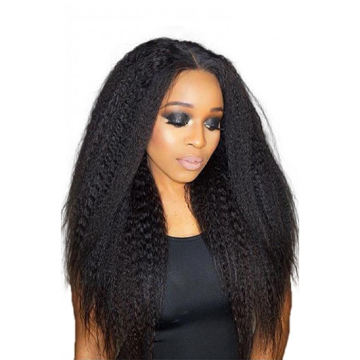"Kinky Straight 6"" Deep Middle Part 360° Lace Wigs,Indian Remy Hair,150% Thick Density,Pre-Plucked Hairline,Removable Elastic Bands"