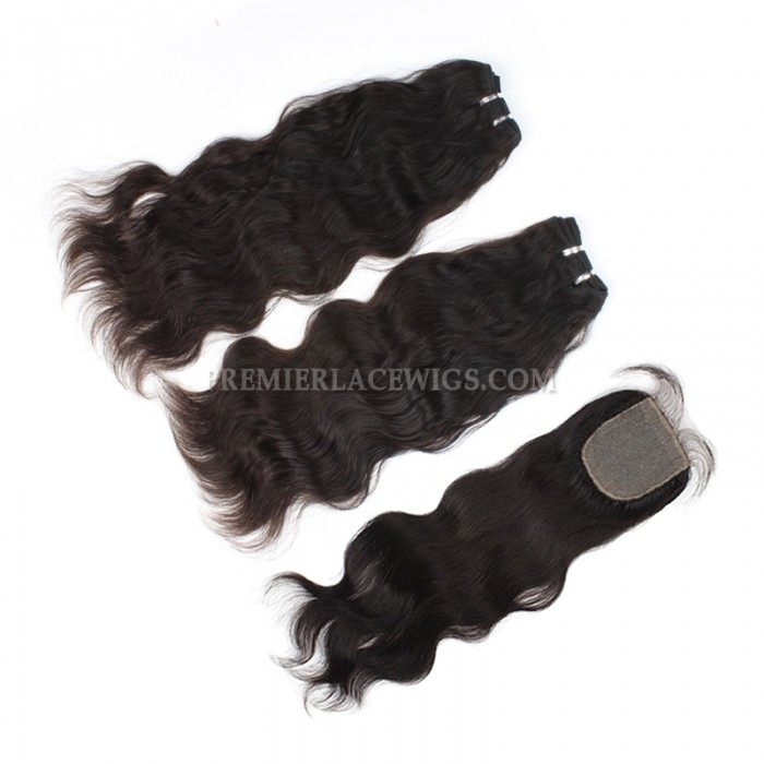 A Silk Base Closure with 2 Bundles Deal Brazilian Virgin Hair Weave Natural Straight