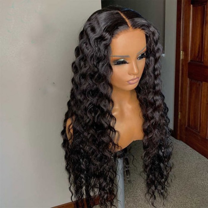 Real Scalp Silk Top Lace Front Wig, Brazilian Virgin Human Hair Deep Wave