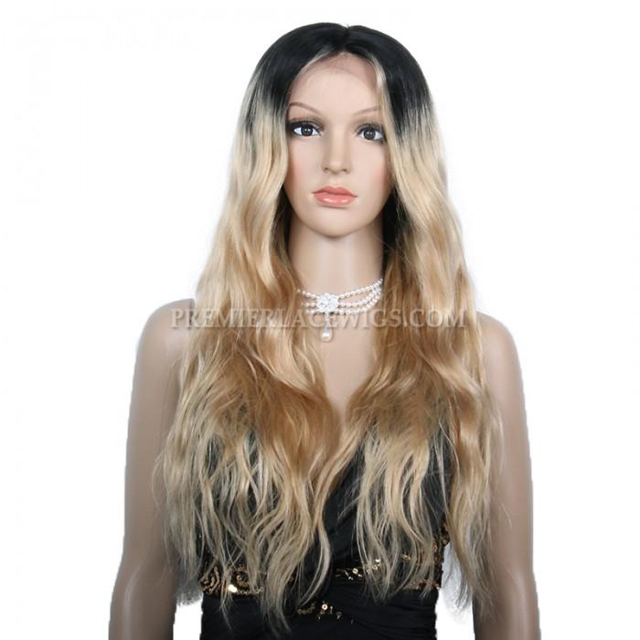 180% Density Ciara Long Ombre Blonde Style Wavy Virgin Hair Lace Wigs