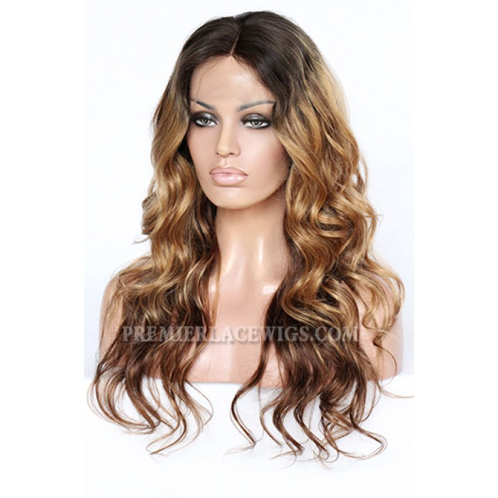 Rihanna Inspired Long Glamorous Ombre Wavy Style Celebrity Lace Front Wigs