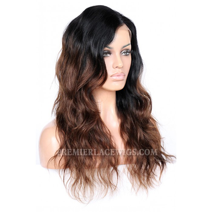 Rihanna Chocolate Brown Ombre Human Hair Celebrity Lace Wigs