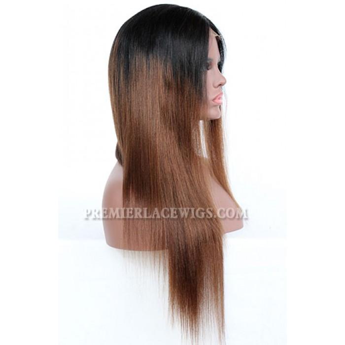 Khloe Kardashian Long Style Ombre Brown Hair Celebrity Lace Wigs