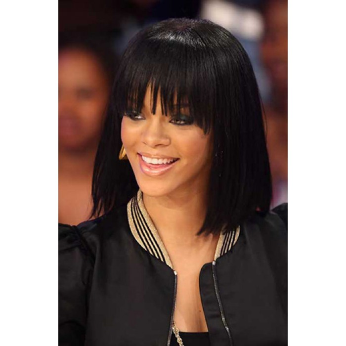 Rihanna Cute Short Bob Full Bangs Lace Front Wig Virgin Human Hair 150% Thick Density