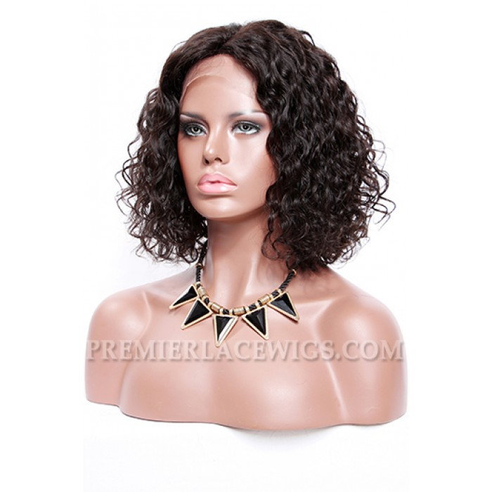 "Permanent Root To Tip Curls,Deep Middle Part Bob Style,4.5"" Pre-Plucked Lace Front Wig"