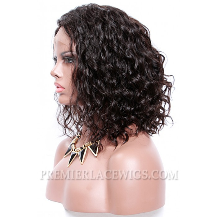 "Permanent Root To Tip Waves,Deep C Side Part Bob Style,4.5"" Pre-Plucked Lace Front Wig"