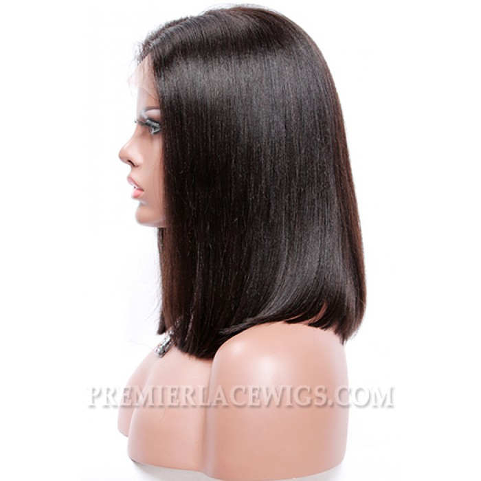 "Blunt Cut Bob Style,Deep Middle Part,4.5"" Pre-Plucked Lace Front Wig"