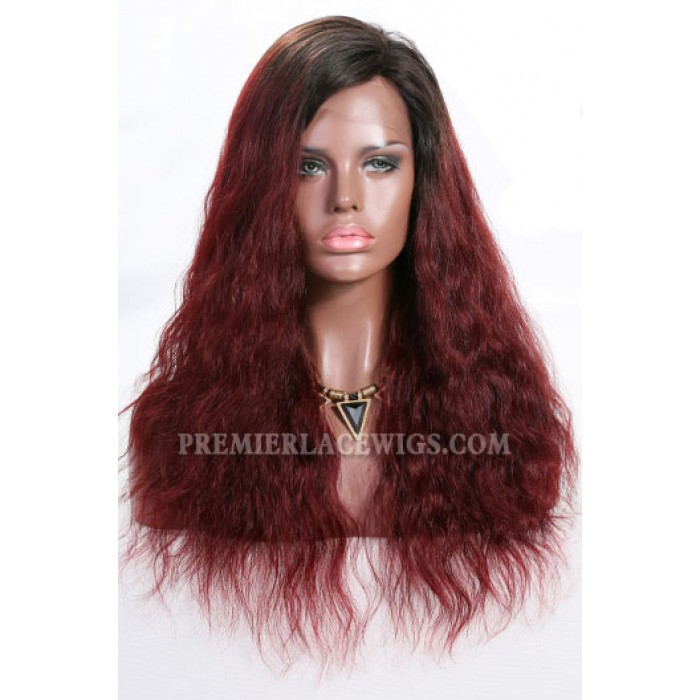 Red Ombre Hair Natural Straight Lace Front Wigs