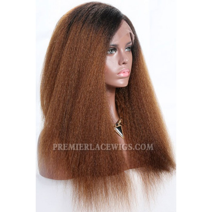 Brown Ombre Hair Kinky Straight Lace Front Wig