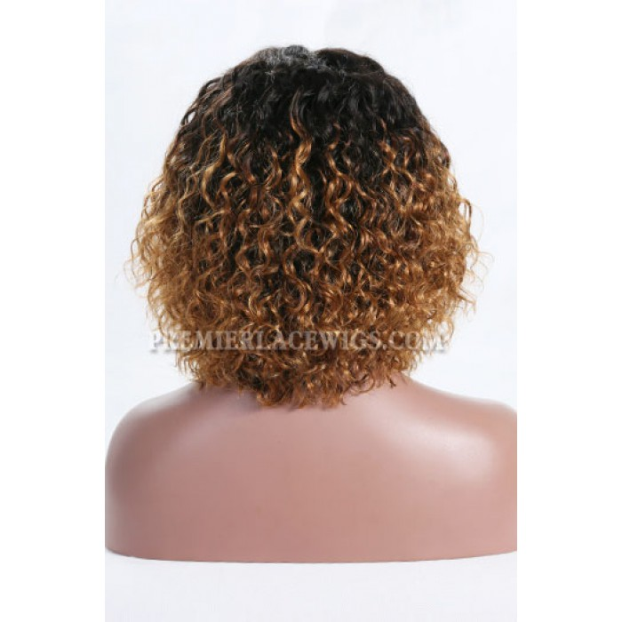 "Blonde Ombre Color Natural Curls Bob,4.5"" Deep Middle Part Lace Front Wig,Pre-Plucked Hairline"