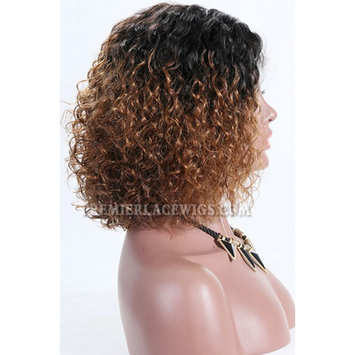 "Brown Ombre Color Natural Curls Bob,4.5"" Deep Middle Part Lace Front Wig,Pre-Plucked Hairline"
