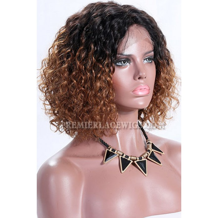 "Brown Ombre Color Natural Curls Bob,4.5"" Deep Middle Part Lace Front Wig,Pre-Plucked HairlineBlonde Brown Color Natural Curls Bob,4.5"" Deep Middle Part Lace Front Wig"